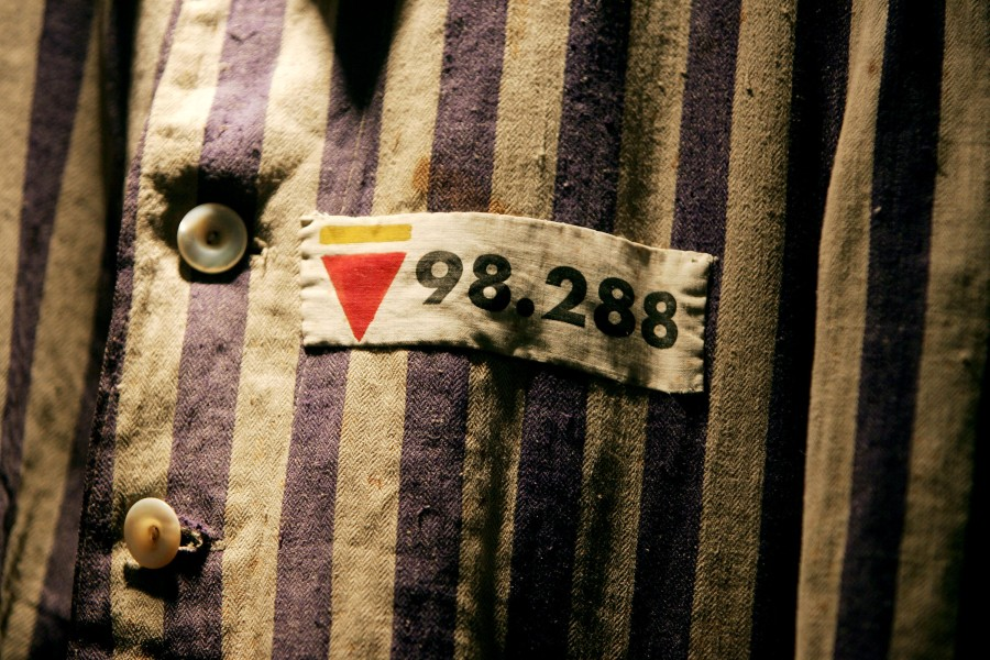 The prison uniform of Auschwitz survivor Mr Leon Greenman, priosoner number 98288 is displayed on December 9, 2004 at the Jewish Museum in London, England. January 2015 will be the 70th anniversary of the liberation of the extermination and concentration camps, when survivors and victims who suffered as a result of the Holocaust will commemorated across the world. (Photo: Ian Waldie/Getty Images)
