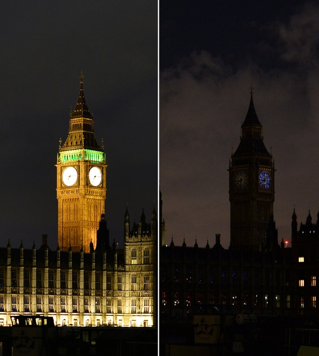 central London shows the Houses of Parliament being submerged into darkness for the Earth Hour environmental campaign. Millions are expected to take part around the world in the annual event organised by conservation group WWF, with hundreds of well-known sights set to plunge into darkness. AFP PHOTO / GLYN KIRK (Photo credit should read GLYN KIRK/AFP/Getty Images)