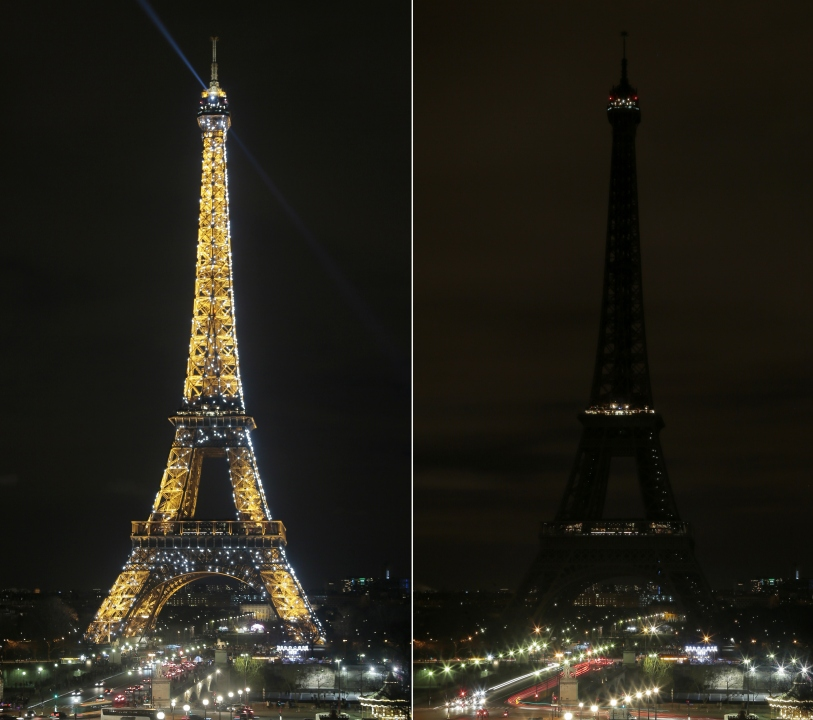 A combo picture taken on March 28, 2015 in Paris shows the Eiffel Tower being submerged into darkness for the Earth Hour environmental campaign. Millions are expected to take part around the world in the annual event organised by conservation group WWF, with hundreds of well-known sights set to plunge into darkness. AFP PHOTO JACQUES DEMARTHON (Photo credit should read JACQUES DEMARTHON/AFP/Getty Images)