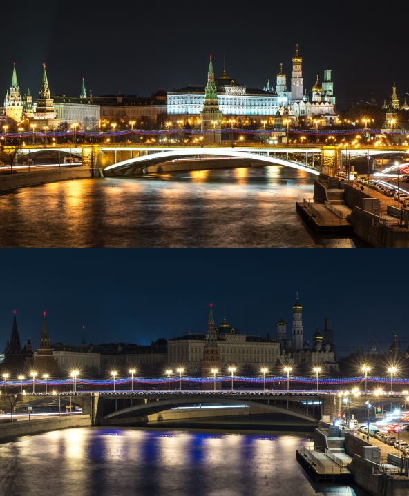 A combination photo shows the Kremlin being submerged into darkness for the Earth Hour environmental campaign in central Moscow on March 28, 2015. AFP PHOTO / DMITRY SEREBRYAKOV (Photo credit should read DMITRY SEREBRYAKOV/AFP/Getty Images)