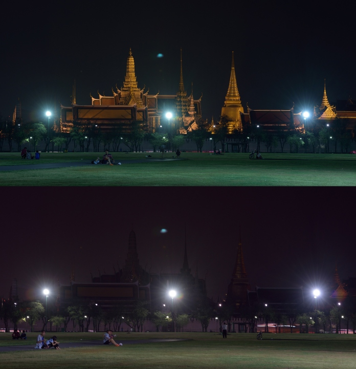 the Grand Palace before (top) and after (bottom) its lights were turned off to mark Earth Hour in Bangkok on March 28, 2015. Millions of people were expected to switch off their lights for Earth Hour on March 28 in a global effort to raise awareness about climate change that was even to be monitored from space. AFP PHOTO/PORNCHAI KITTIWONGSAKUL (Photo credit should read PORNCHAI KITTIWONGSAKUL/AFP/Getty Images)