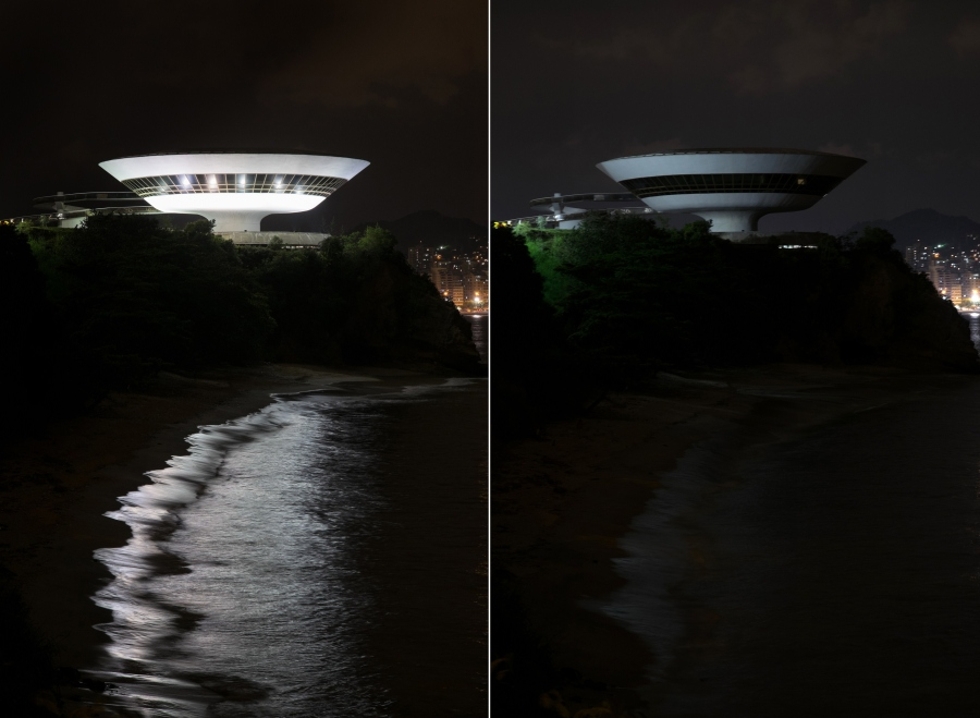 A combo picture taken on March 28 2015 shows the Niteroi Contemporary Art Museum (MAC) being submerged into darkness for the Earth Hour environmental campaign, in Niteroi, a neighbouring city of Rio de Janeiro, Brazil, on March 28, 2015. Millions are expected to take part around the world in the annual event organised by conservation group WWF, with hundreds of well-known sights set to plunge into darkness. AFP PHOTO / YASUYOSHI CHIBA (Photo credit should read YASUYOSHI CHIBA/AFP/Getty Images)
