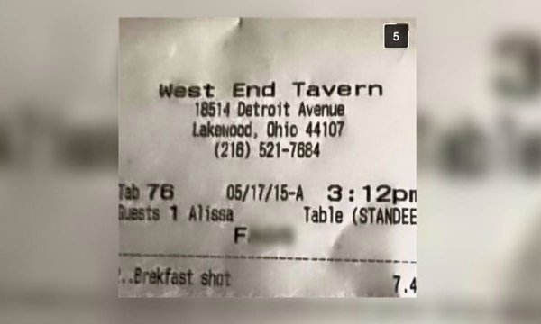 Receipt with slur blurred out