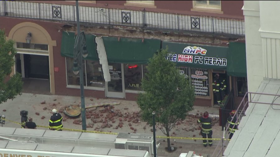 Facade crumbles off of a building at 321 14th St. (Photo: SkyFOX)