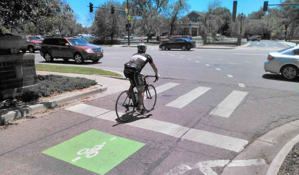 Bike detection lane at Denver intersection