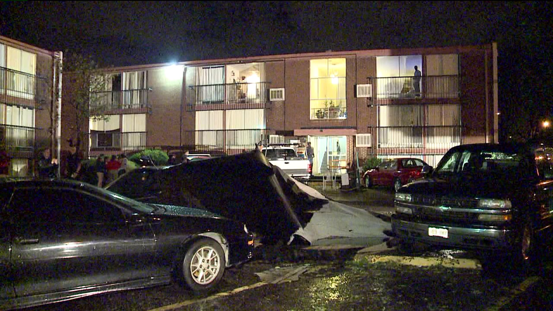 Part of apartment building roof blown off at 870 South Birch Street in Denver