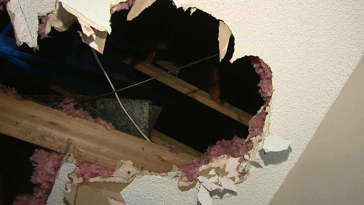 Hole in house from lightning strike