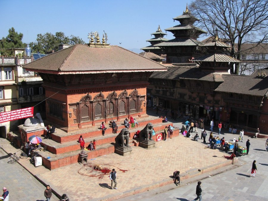Kathmandu's brick-and-wood Shiva-Parvati Temple House in Durbar Square survived. It is seen here in February 2008 from the atop the nearby Shiva Temple pagoda, which was obliterated in the quake. (Photo: CNN)