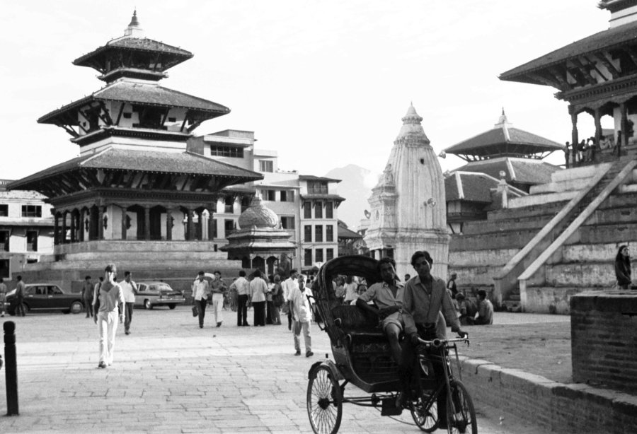 Kathmandu was heavily damaged by the earthquake of April 25 2015. The worst architectural losses included the total destruction of both the majestic Shiva temple pagoda [right] and its twin, the Narayan temple pagoda [center] which dominated the main Durbar Square in this April 1975 photo. (Photo: CNN)