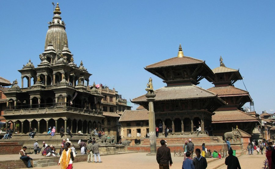 While other pagodas crumbled in Patan's Durbar Square, this trio of holy structures are believed to have survived: the Krishna Mandir [left], the Bishwa Nath Mandir and the Bimsen Mandi, all seen in February 2008. (Photo: CNN)