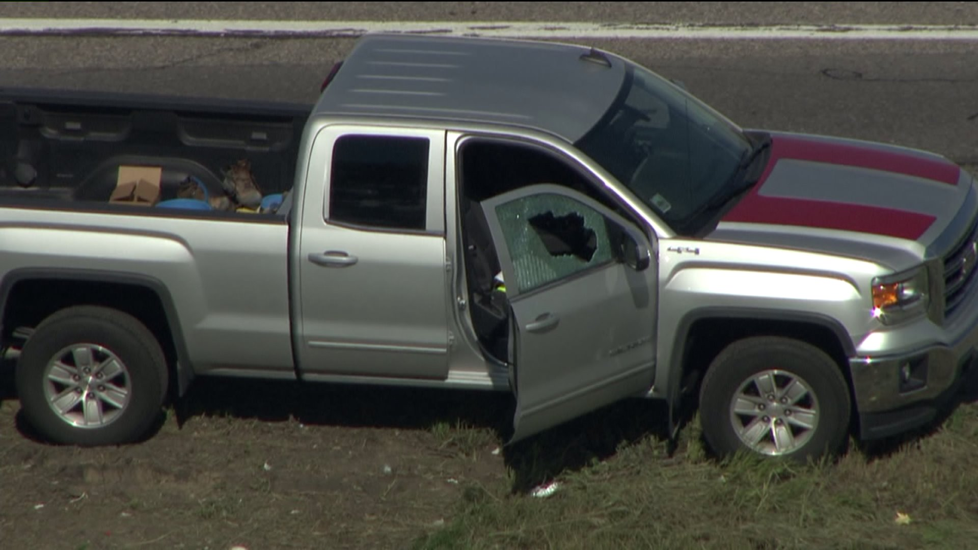 Window shattered on I-25 at 136th Avenue in Westminster, Colo