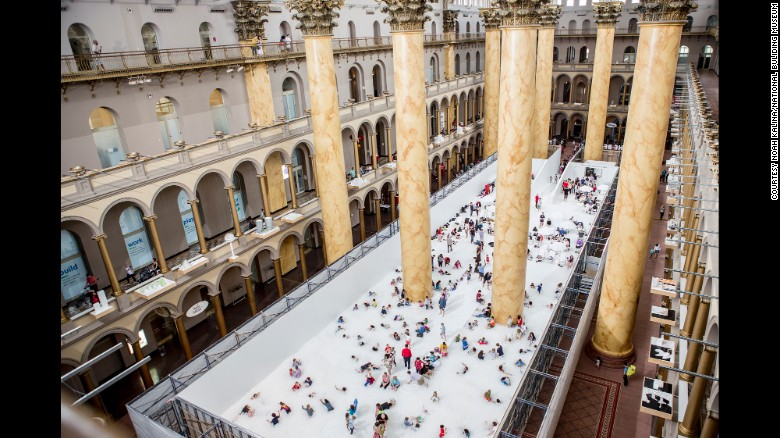 """""""The Beach"""" is an indoor installation at the National Building Museum. (Photo: Noah Kalina/National Building Museum)"""