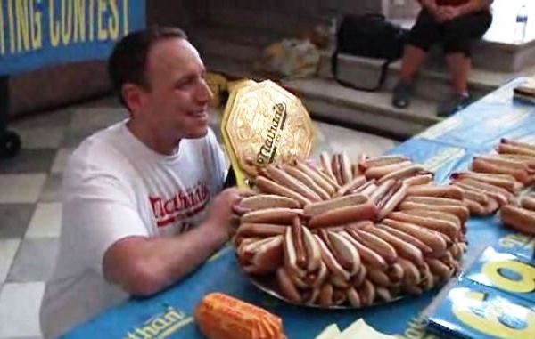 Champion eater Joey Chestnut after winning the July 4th Nathan's Famous Hot Dog Eating Contest on Coney Island, New York. (Photo: AP)