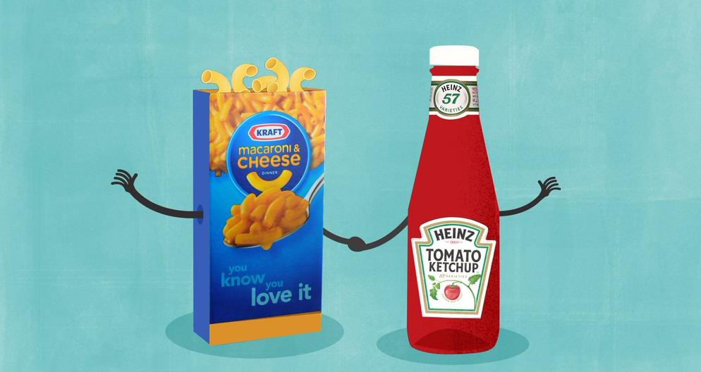 Introducing Mr. and Mrs. Cheese and Ketchup! The merger of Kraft and Heinz is complete. (Photo: CNN)