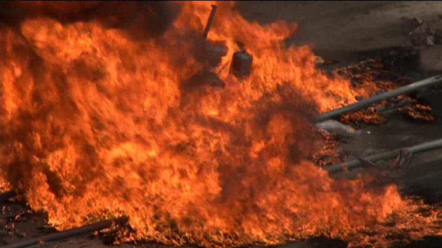 Gas line explosion and fire in Weld County, Colorado