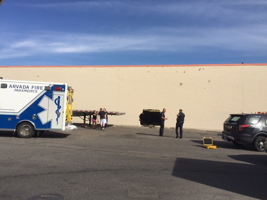 Vehicle crashed into KMart in Arvada, Colo. Photo credit: Arvada Fire District