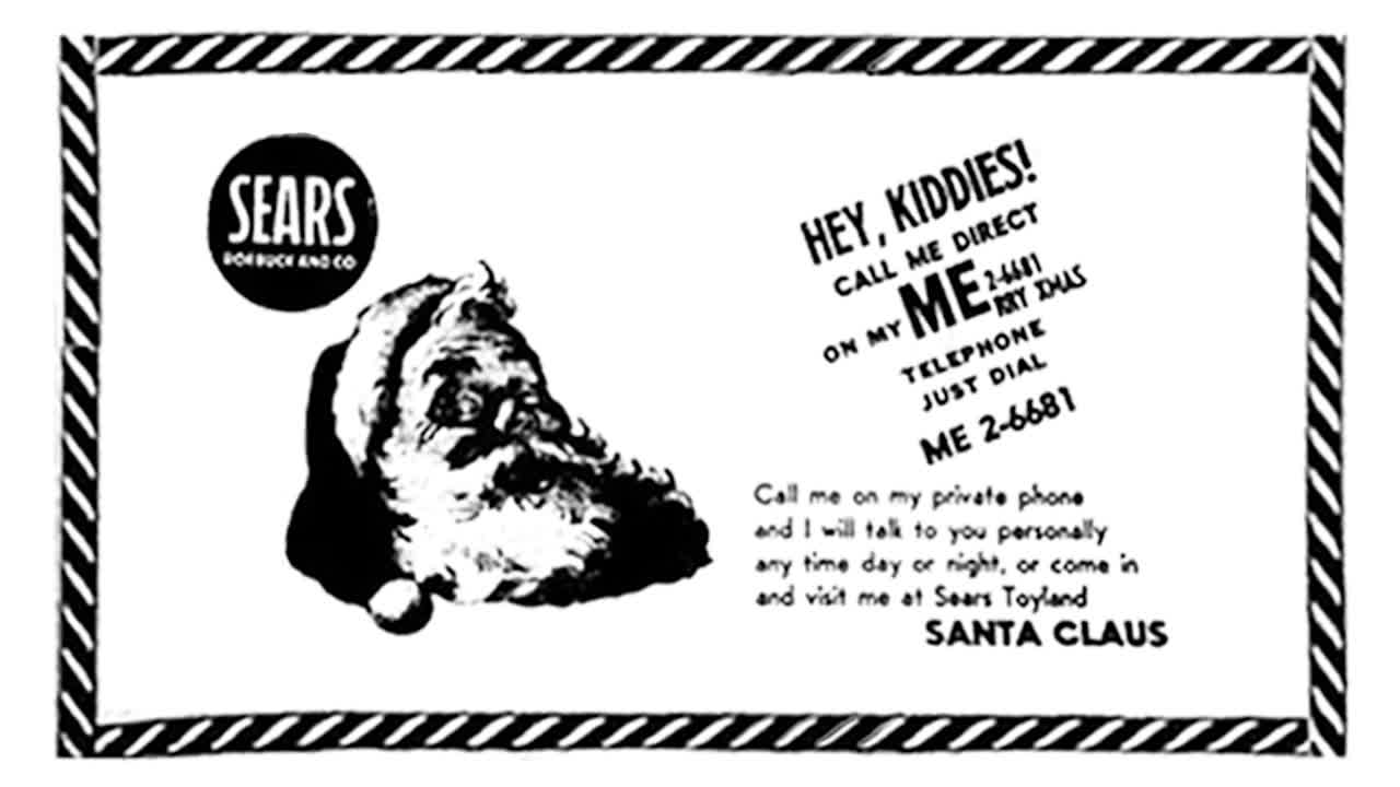 The Sears newspaper advertisement from Colorado Springs that led to the beginning of the Santa Tracker.