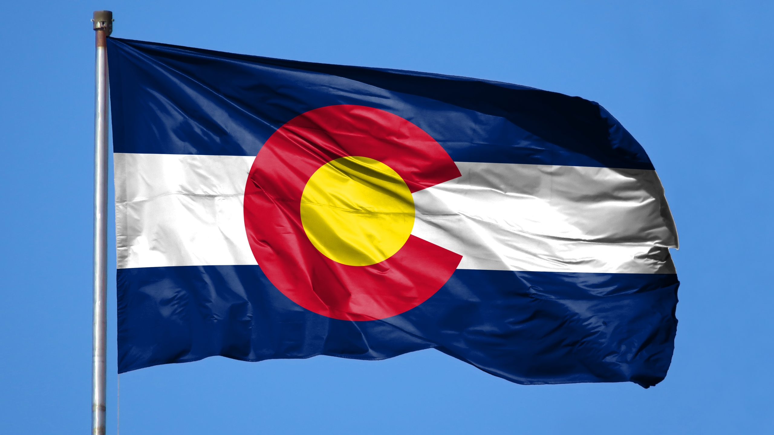 National flag State of Colorado on a flagpole