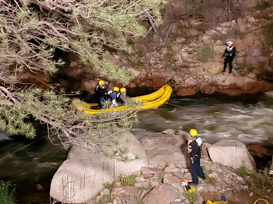 Lyons firefighters and Boulder County deputies rescue two hikers who were stuck on the south side of the St. Vrain River Sunday night. (Photo: Boulder County Sheriff's Office)