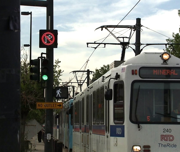 An RTD light rail in downtown Denver.