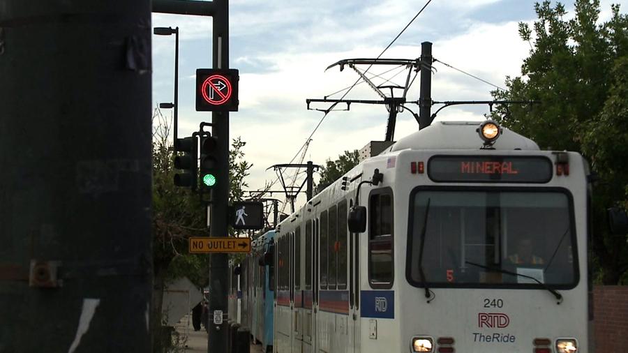 An RTD light rail in downtown Denver.