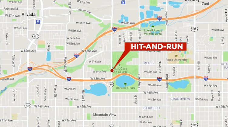 Map of hit-and-run at 49th Avenue and Sheridan Boulevard in Denver on Jan. 10, 2020.