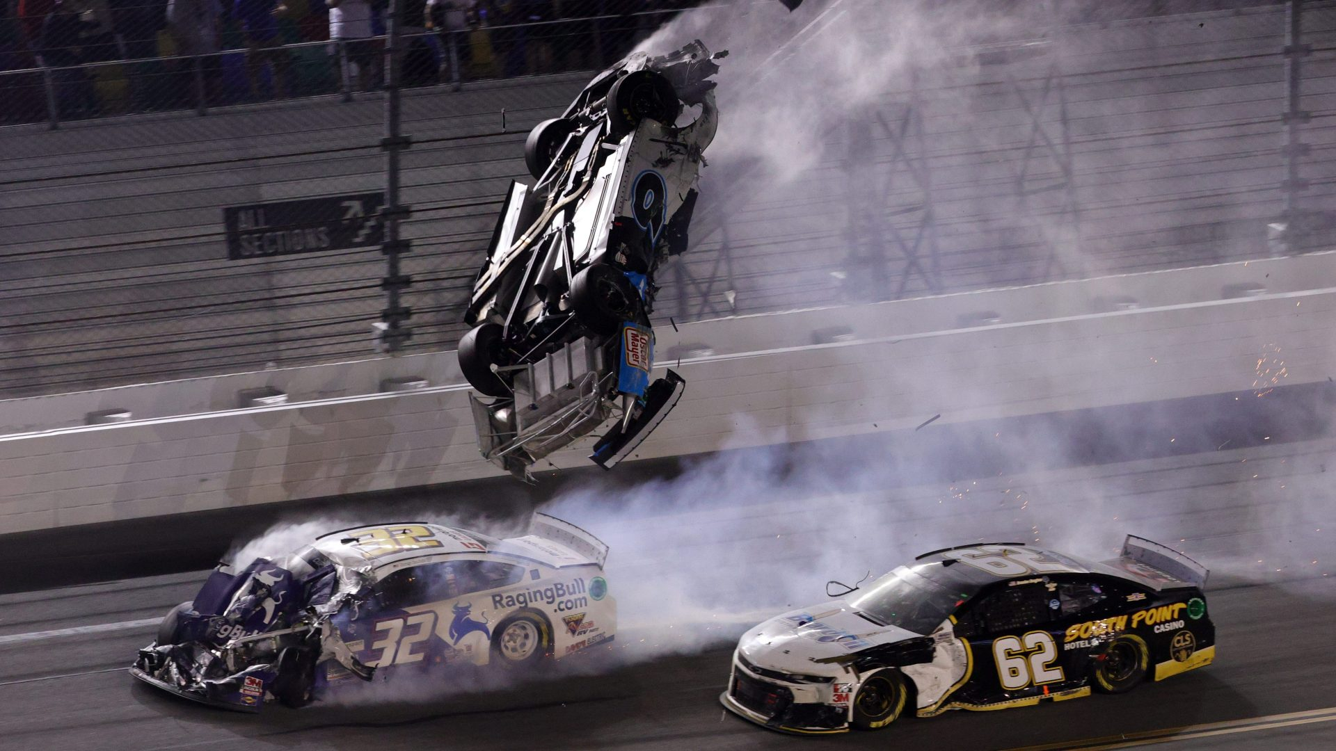 Ryan Newman, driver of the #6 Koch Industries Ford, flips over as he crashes during the NASCAR Cup Series 62nd Annual Daytona 500