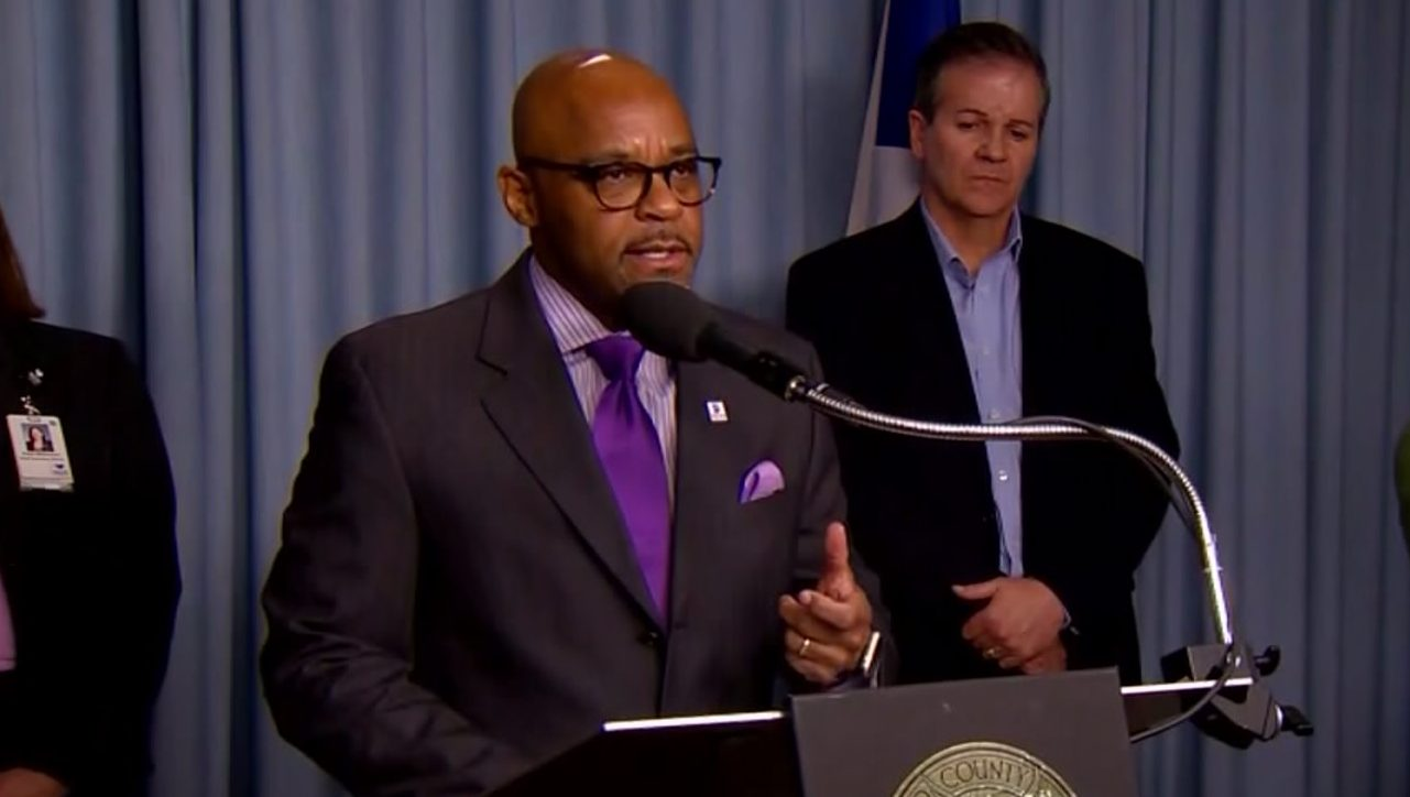 Denver Mayor Michael Hancock at a news conference about COVID-19 on March 23, 2020.