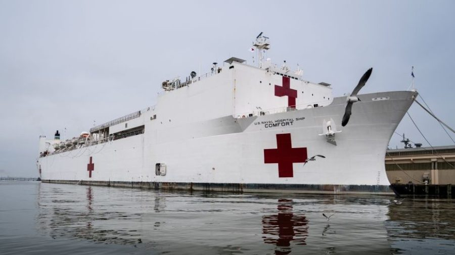 The USNS Comfort is docked at Naval Station Norfolk in Norfolk, Virginia, on March 28, 2020.