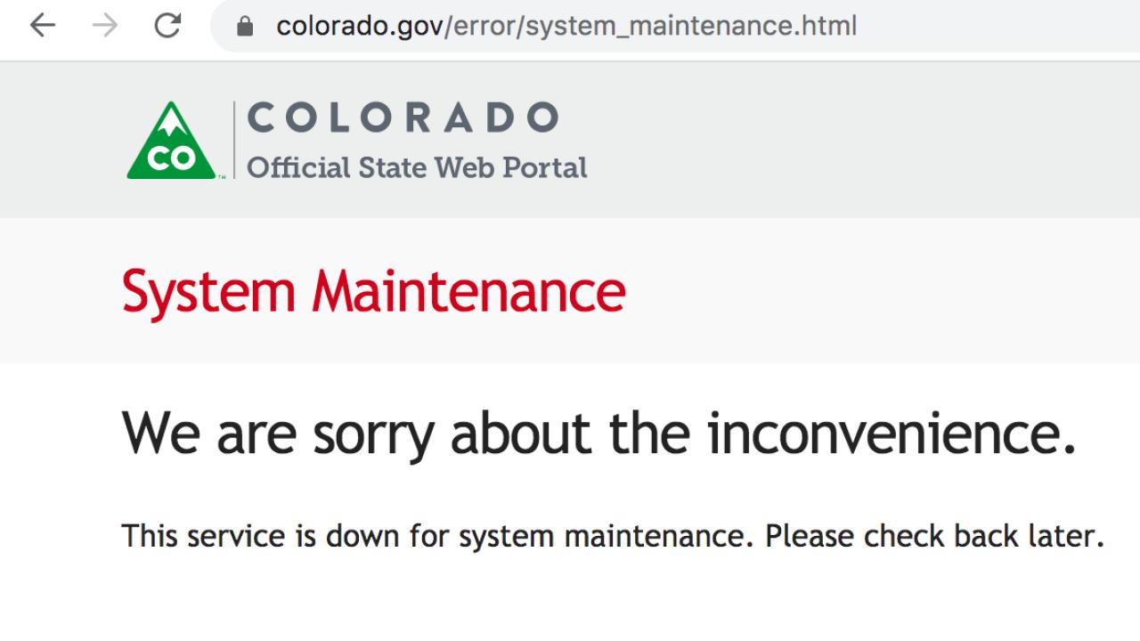 Welle von Anwendungen Abstürze Colorado Arbeitslosigkeit server
