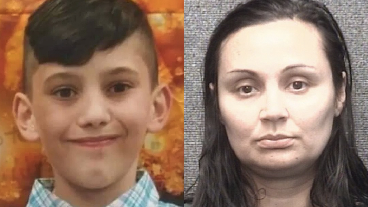 Gannon Stauch, seen in a photo released by authorities during the search for him, and the mugshot of his stepmother Letecia Stauch, who was arrested in his disappearance.