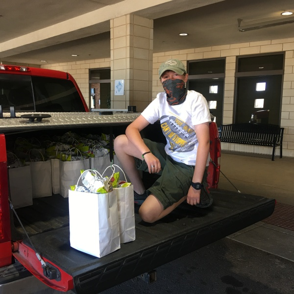 Matthew Pawlak donates care bags to medical workers (Photo: Caren Pawlak)