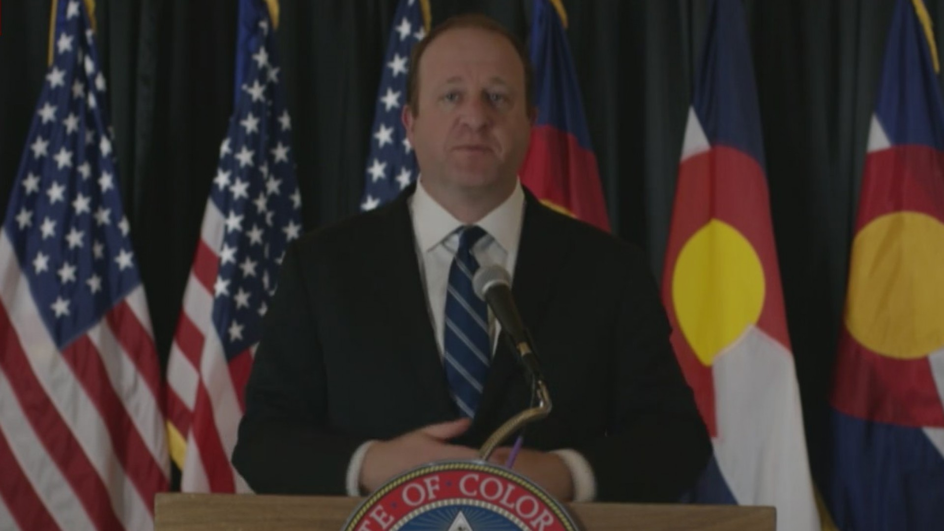 Gov. Jared Polis holds a news conference on COVID-19 in Colorado, on April 27, 2020.