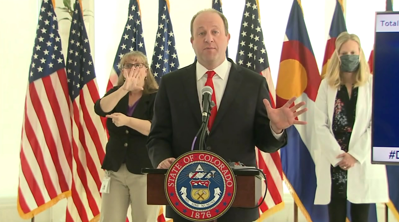 Gov. Jared Polis holds a news conference on COVID-19 in Colorado, on April 20, 2020.