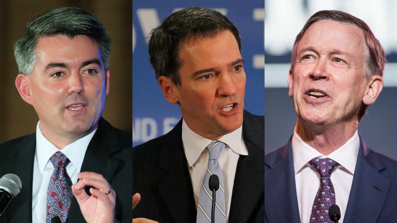 Sen. Cory Gardner (R-CO), former Colorado House Speaker Andrew Romanoff (D), and Former Colorado Gov. John Hickenlooper (D) are seen in file photos.