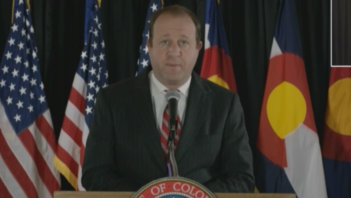 Gov. Jared Polis holds a news conference on COVID-19 in Colorado, on May 6, 2020.