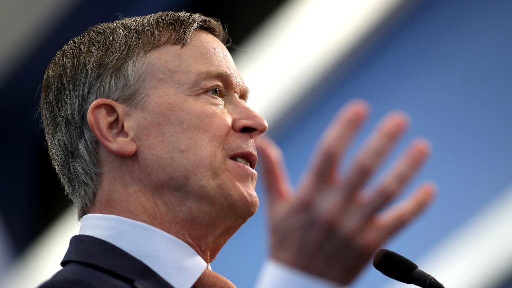 Democratic presidential candidate and former Colorado Gov. John Hickenlooper speaks at the National Press Club on June 13, 2019 in Washington, DC.