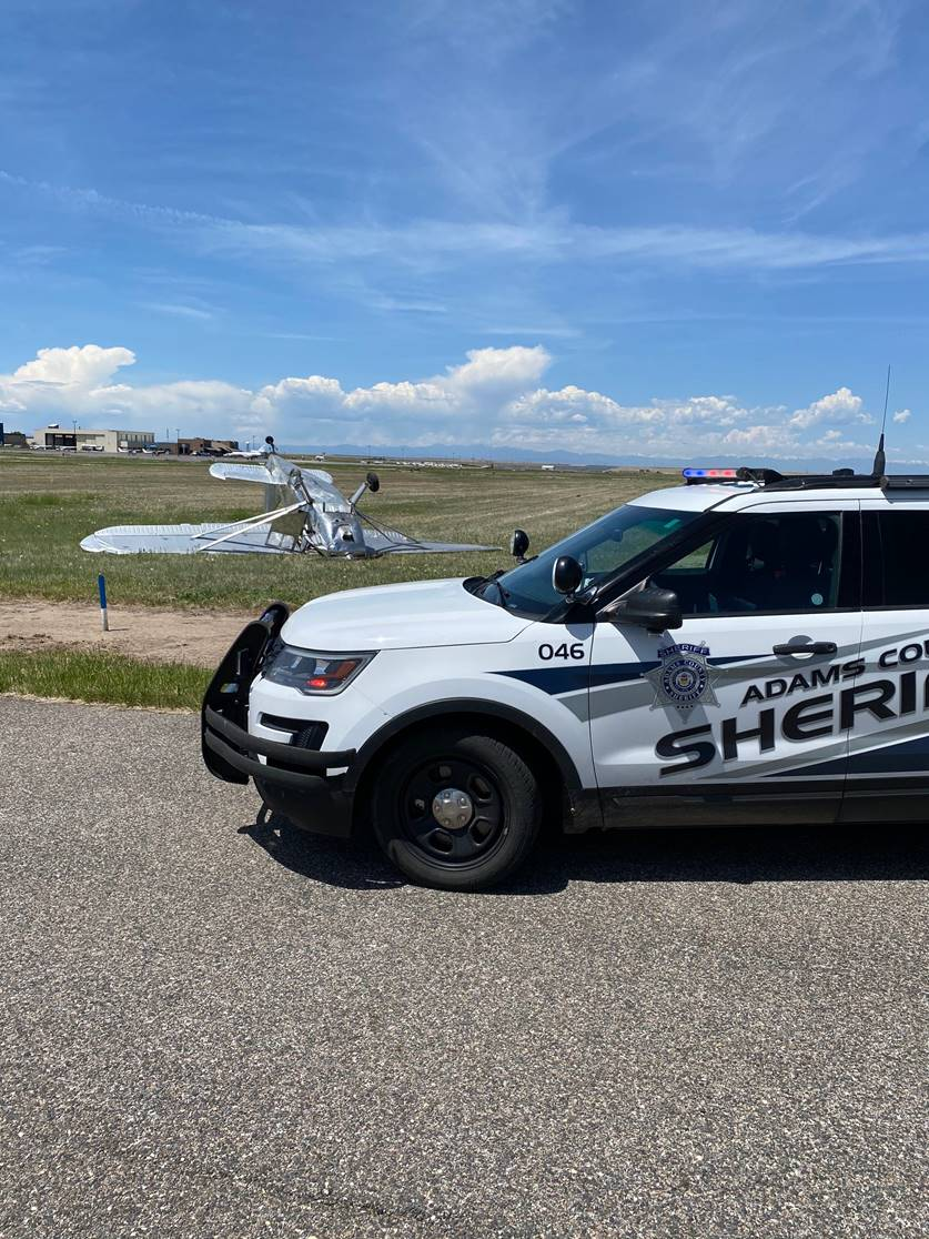 Plane flipped over at CASP, photo courtesy of Adams County Sheriff's Office