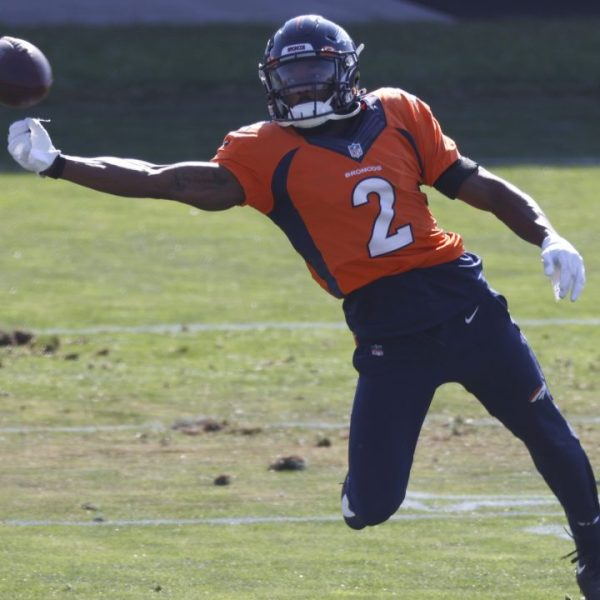Denver Broncos wide receiver Kendall Hinton taking part in drills during a practice on Aug. 31, 2020.