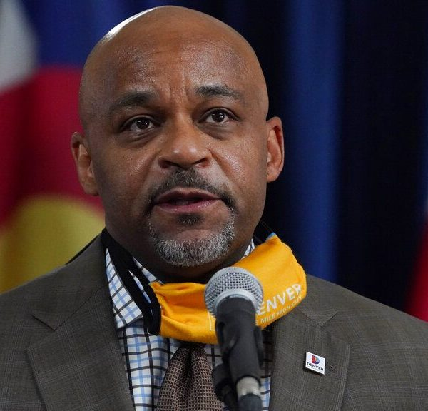 Denver Mayor Michael Hancock speaks during a news conference about the rapid increase in coronavirus cases in the state Tuesday, Nov. 17, 2020, in Denver.