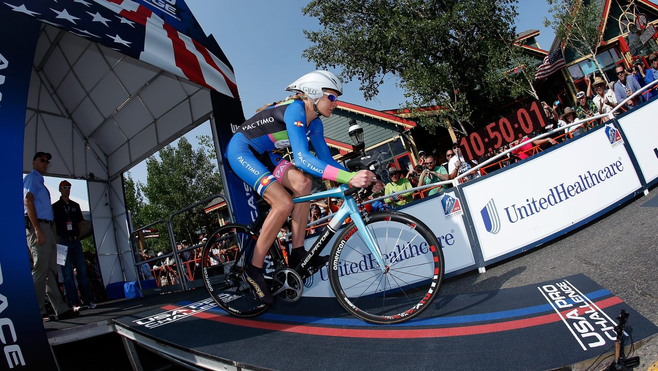 Gwen Inglis is seen riding for Colorado Women's Cycling Project in a time trial during the 2015 Women's USA Pro Challenge on August 21, 2015 in Breckenridge, Colorado.