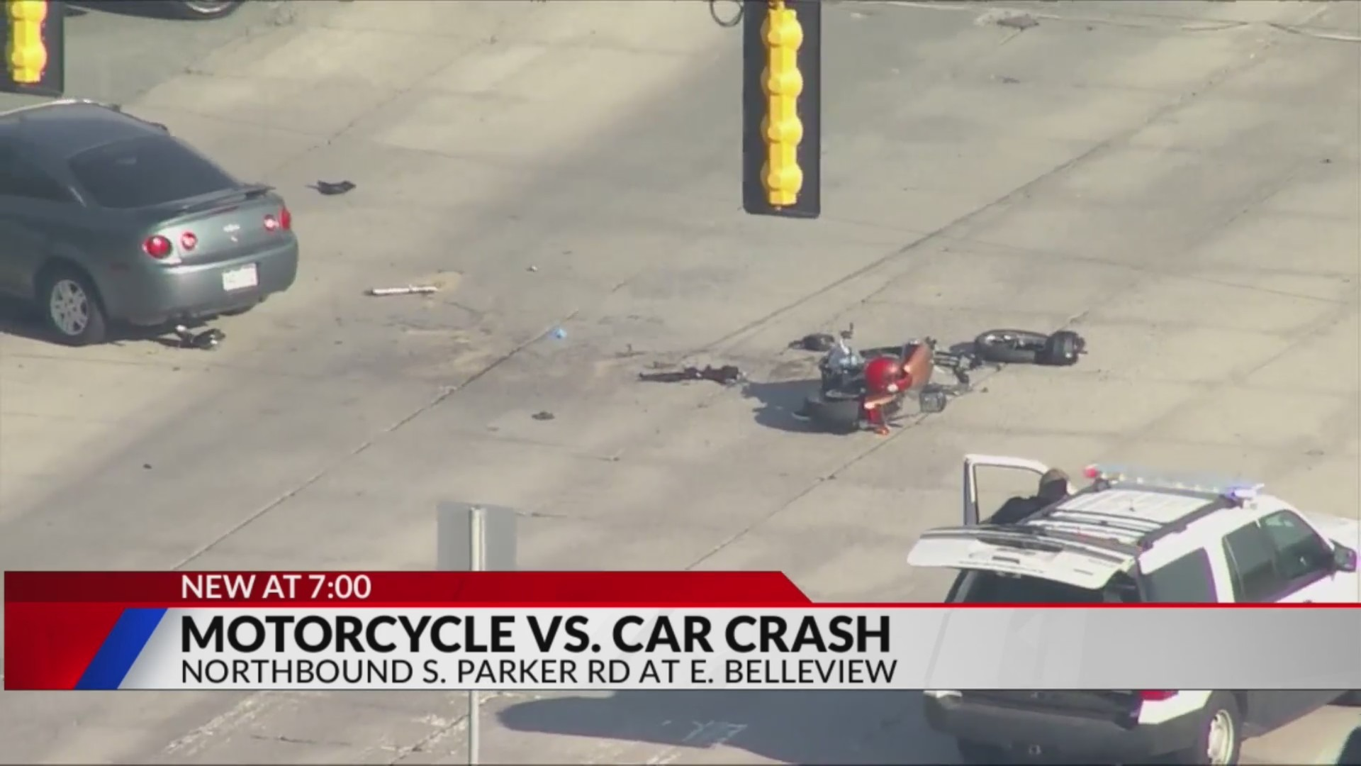 Aerial view of motorcycle damaged in the middle of an intersection