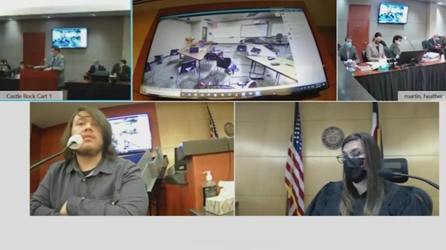 A screen shot showing multiple frames from courtroom cameras