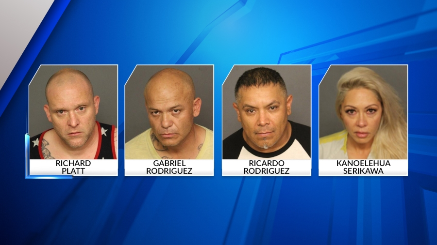 Booking photos for the four suspects arrested in the incident at the Maven Hotel in Denver on July 9, 2021.
