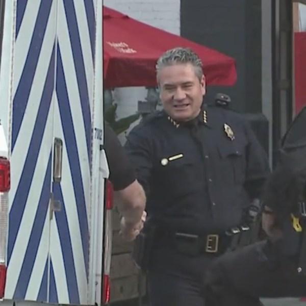 Denver Police Chief Paul Pazen at Maven Hotel during investigation