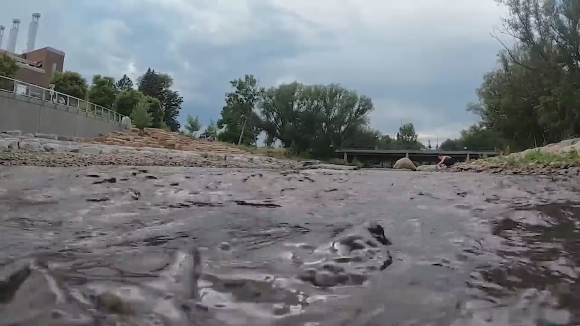 Dark-colored river water next to treatment plant