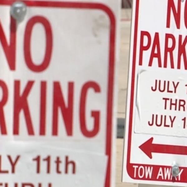 3 no parking signs dated July 11-13 with tow-away zone notice