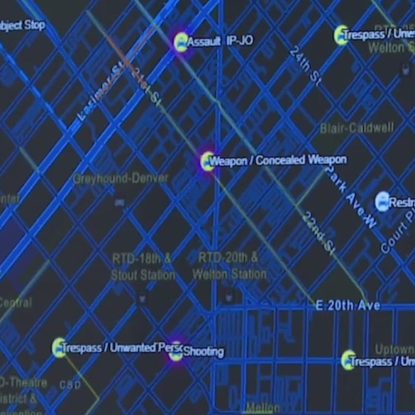 A closeup of a digital map of Denver showing pins where there have been calls for service