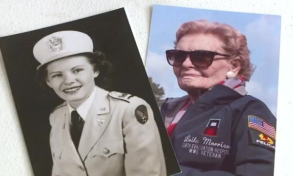 A black and white photo of a young woman in military uniform beside a color photo of an older woman in a veteran jacket and sunglasses