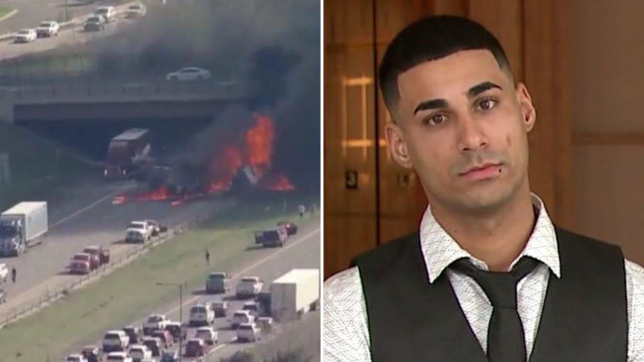 Scene of deadly 2019 crash on I-70 (l), and truck driver Rogel Aguilera-Mederos (r).